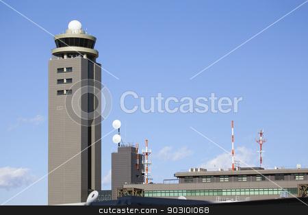 Narita Tokyo Airport Control Tower stock photo, Narita Tokyo Airport Air Traffic Control Tower Against Blue Sky by Jit Lim