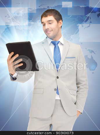 happy man with tablet pc computer stock photo, picture of happy man with tablet pc computer by Syda Productions