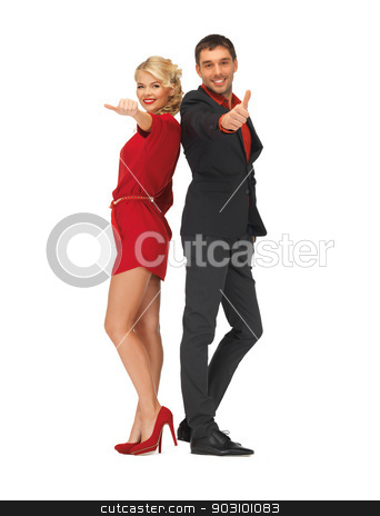 handsome man and lovely woman showing thumbs up stock photo, picture of handsome man and lovely woman showing thumbs up by Syda Productions