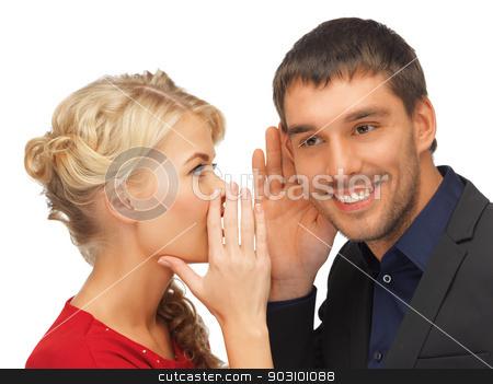 man and woman spreading gossip stock photo, man and woman spreading gossip (focus on man) by Syda Productions