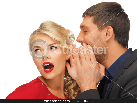 man and woman spreading gossip stock photo, man and woman spreading gossip (focus on woman) by Syda Productions