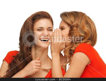 two talking teenage girls in red t-shirts stock photo, picture of two talking teenage girls in red t-shirts by Syda Productions