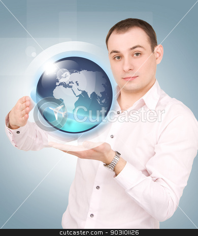 earth globe on the palms of his hands stock photo, businessman showing earth globe on the palms of his hands by Syda Productions