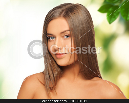 beautiful woman with green leaves stock photo, picture of beautiful woman with green leaves by Syda Productions