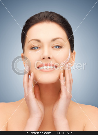 face and hands of beautiful woman stock photo, picture of beautiful woman ready for cosmetic surgery by Syda Productions