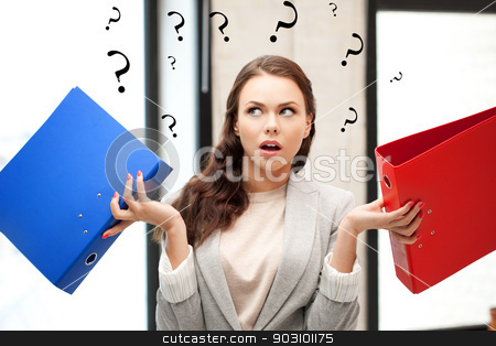 woman with folders stock photo, bright picture of beautiful woman with folders by Syda Productions