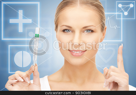 attractive female doctor with thermometer stock photo, picture of attractive female doctor with thermometer by Syda Productions