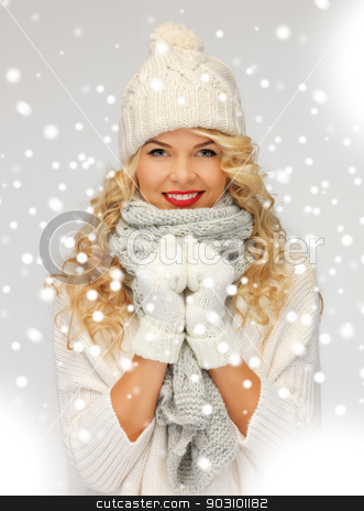 beautiful woman in hat, muffler and mittens stock photo, bright picture of beautiful woman in hat, muffler and mittens.. by Syda Productions