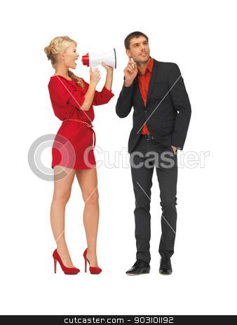 beautiful couple with megaphone stock photo, bright picture of beautiful couple with megaphone by Syda Productions