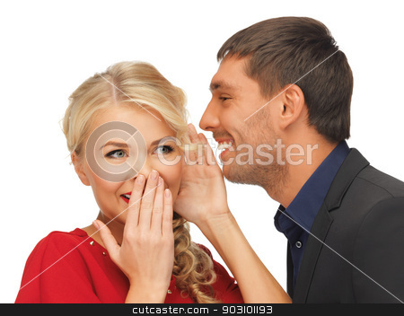 man and woman spreading gossip stock photo, bright picture of man and woman spreading gossip by Syda Productions