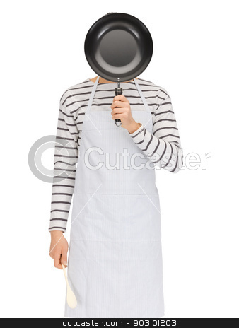 man with pan and spoon stock photo, bright picture of man with pan and spoon by Syda Productions