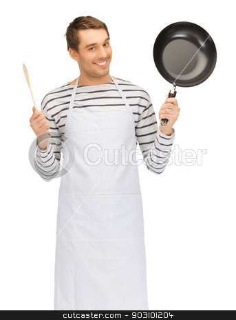 handsome man with pan and spoon stock photo, bright picture of handsome man with pan and spoon by Syda Productions