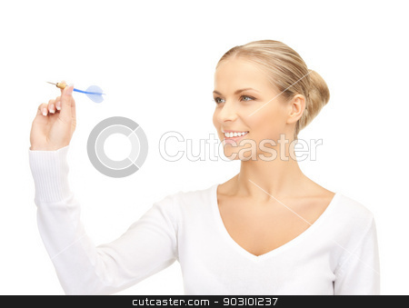 businesswoman with dart stock photo, bright picture of confident businesswoman with dart.. by Syda Productions