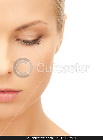 pensive beautiful woman stock photo, bright picture of pensive beautiful woman by Syda Productions