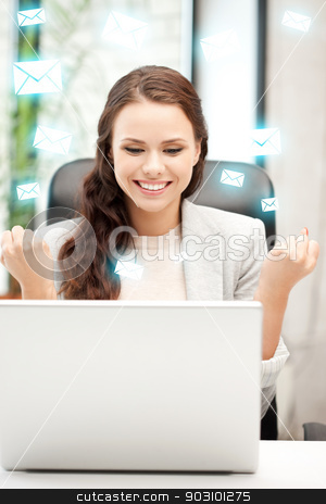happy woman with laptop computer stock photo, picture of happy woman with laptop computer by Syda Productions