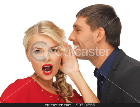 man and woman spreading gossip stock photo, bright picture of man and woman spreading gossip (focus on woman) by Syda Productions