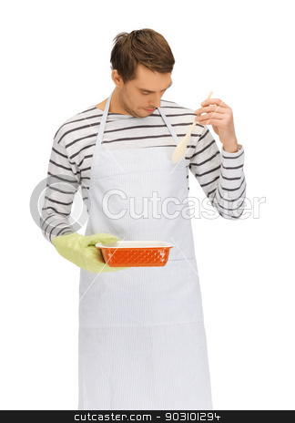 cooking man over white stock photo, bright picture of cooking man over white by Syda Productions