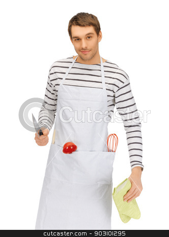handsome man with knife stock photo, bright picture of handsome man with knife by Syda Productions
