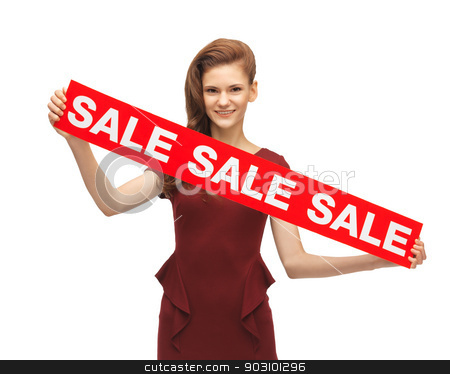 teenage girl in red dress with sale sign stock photo, picture of teenage girl in red dress with sale sign by Syda Productions
