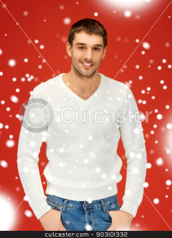 handsome man in warm sweater stock photo, bright picture of handsome man in warm sweater. by Syda Productions