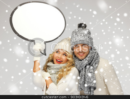 family couple with blank text bubble stock photo, picture of family couple with blank text bubble by Syda Productions