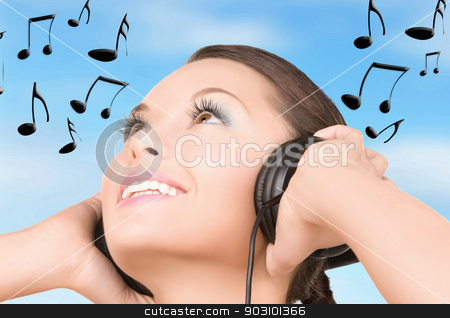 happy woman in headphones stock photo, picture of happy woman in headphones over white by Syda Productions