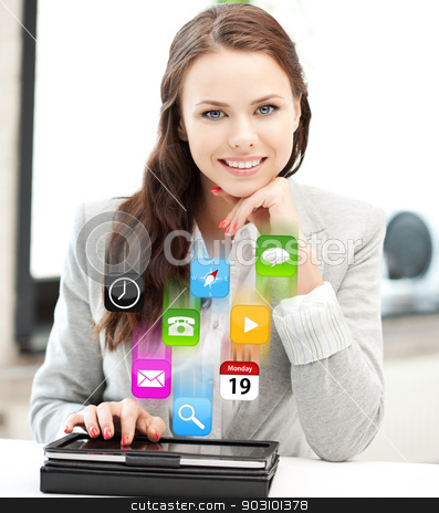 happy woman with tablet pc computer stock photo, picture of happy woman with tablet pc computer by Syda Productions