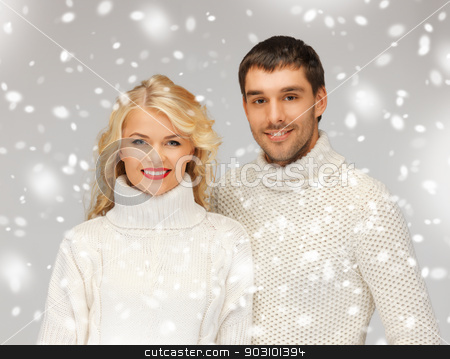 family couple in a sweaters stock photo, bright picture of family couple in a sweaters by Syda Productions