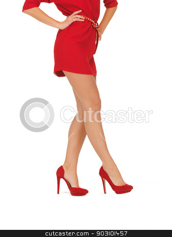 picture of woman in red dress on high heels stock photo, closeup picture of woman in red dress on high heels by Syda Productions