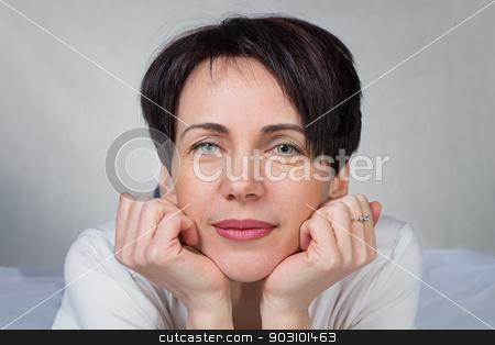 Portrait of woman stock photo, Portrait of woman - photo portrait with gray background by Chris Tefme