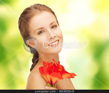 beautiful woman with red lily flower stock photo, picture of beautiful woman with red lily flower by Syda Productions
