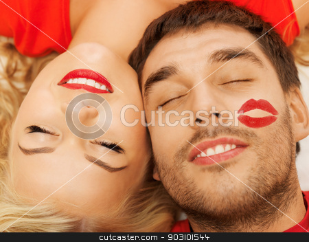 happy couple lying at home with closed eyes stock photo, happy couple lying at home with closed eyes (focus on woman) by Syda Productions