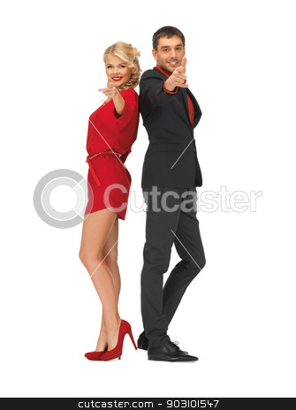 man and woman making a gun gesture stock photo, picture of man and woman making a gun gesture by Syda Productions