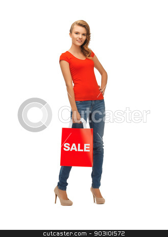 teenage girl in red t-shirt with shopping bag stock photo, picture of teenage girl in red t-shirt with shopping bag by Syda Productions