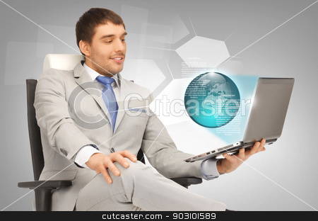 businessman with laptop and virtual screens stock photo, picture of businessman working with laptop and virtual screens by Syda Productions