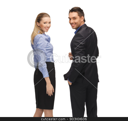 man and woman in formal clothes stock photo, bright picture of man and woman in formal clothes. by Syda Productions