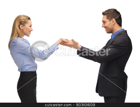 man and woman showing something on the palms stock photo, picture of man and woman showing something on the palms. by Syda Productions