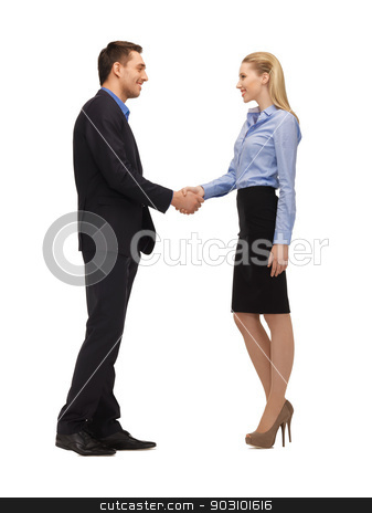 man and woman shaking their hands stock photo, bright picture of man and woman shaking their hands. by Syda Productions