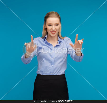 woman working with something imaginary stock photo, bright picture of woman working with something imaginary by Syda Productions