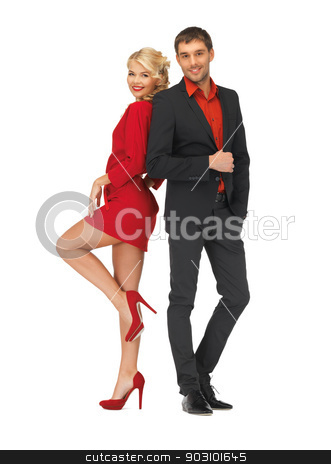 handsome man and lovely woman stock photo, bright picture of handsome man and lovely woman by Syda Productions