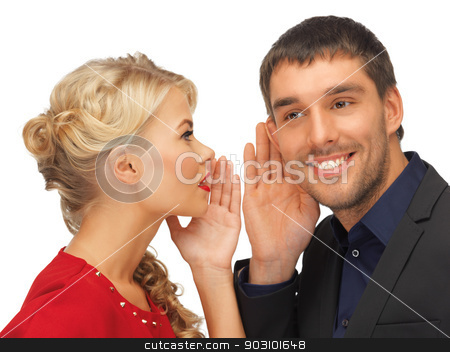 man and woman spreading gossip stock photo, bright picture of man and woman spreading gossip (focus on man) by Syda Productions