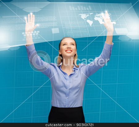 woman working with virtual screens stock photo, bright picture of woman working with virtual screens by Syda Productions