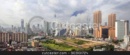 Kuala Lumpur Cityscape Panorama stock photo, Kuala Lumpur Malaysia Central Cityscape with Old Neighborhood Houses Against Cloudy Blue Sky Panorama by Jit Lim