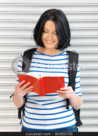 woman with bag and book stock photo, bright picture of attractive woman with bag and book by Syda Productions