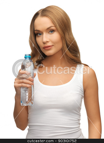 young beautiful woman with  bottle of water stock photo, picture of young beautiful woman with bottle of water by Syda Productions