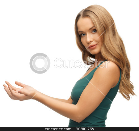 woman holding something on the palms stock photo, picture of woman holding something on the palms by Syda Productions