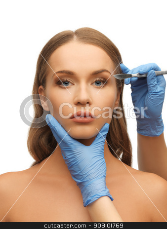 woman face and beautician hands stock photo, picture of woman face and beautician hands with scalpel by Syda Productions