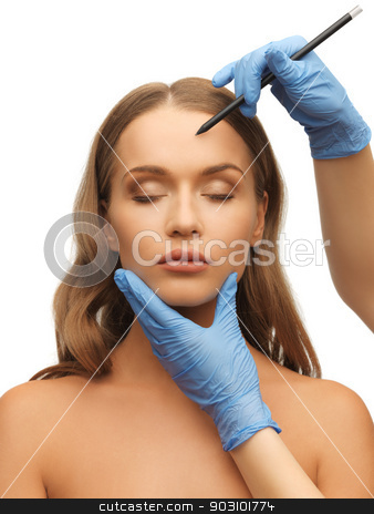 woman face and beautician hands stock photo, picture of woman face and beautician hands with pencil by Syda Productions