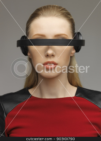 woman with futuristic glasses stock photo, picture of beautiful woman with futuristic glasses by Syda Productions