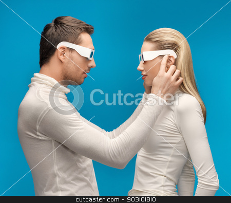 man and woman with 3d glasses stock photo, picture of man and woman with 3d glasses by Syda Productions